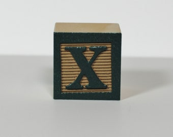 Dark Green on Khaki - Color Sample - Wooden Alphabet Blocks, Alphabet Blocks, Alphabet Letters, Wood Blocks, Wood Letters