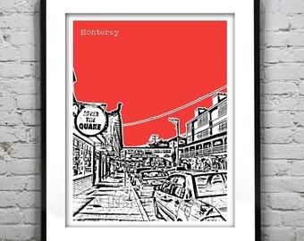 Monterey California Poster Print Skyline Art Cannery Row CA