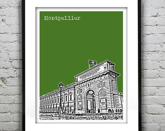 Montpellier France City Skyline Poster Print Art