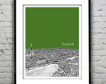Zurich Switzerland Poster City Skyline Art Print
