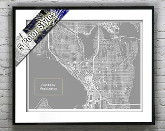 Seattle Washington Blueprint Map Poster Art Print Several Sizes Available