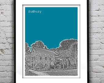 Sudbury Massachusetts Skyline Poster Art Print Old Grist Mill MA
