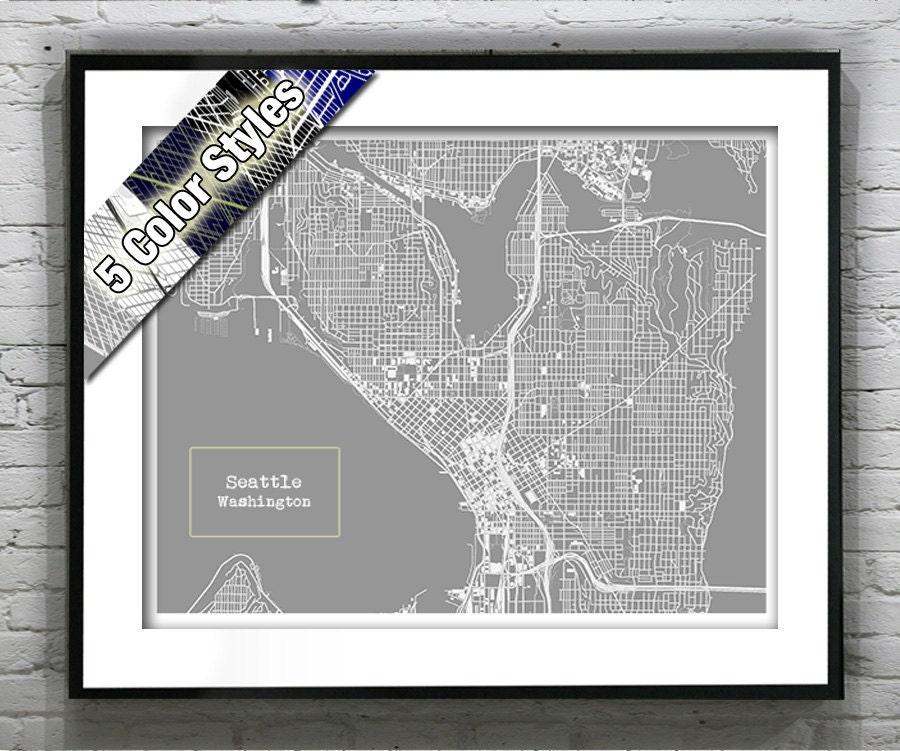 Seattle Washington Blueprint Map Poster Art Print Several Sizes