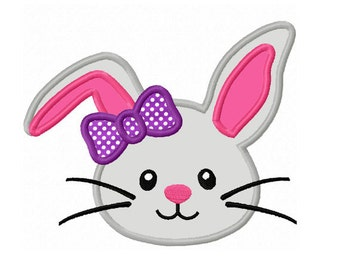 Easter Girl Bunny Face Applique Machine Embroidery Design NO:0143