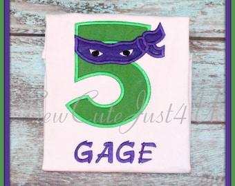 Teenage Mutant Ninja Turtle Themed Birthday Personalized Number Shirt