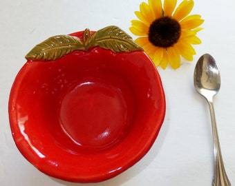 Red Apple Bowl Set, Pottery Apple for the Teacher