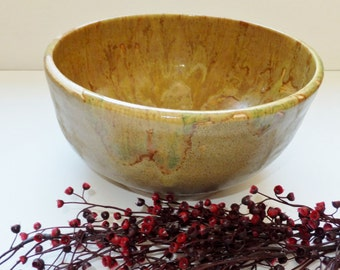 Large Ocher Ceramic Pottery Salad Bowl