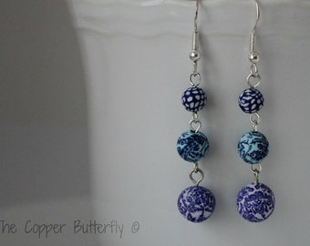 Shades of Blue Hand Made  Polymer Clay Bead Tri Level Earrings - 6130117