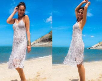 Gray halter Bikini Cover handmade knitting Short dress fits S M L