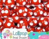 20mm RED Polka DOT Beads White Dot Bubblegum Beads Chunky Beads Chunky Necklace Beads Minnie Beads Plastic Round Gumball Beads Bubble Gum
