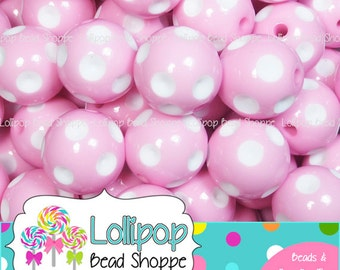 14mm PINK Polka DOT Beads White Dots Bubblegum Beads 10 Chunky Beads Chunky Necklace Plastic Round Gumball Bead Bubble Gum Beads