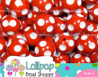 20mm RED Polka DOT Beads White Dot Bubblegum Beads Chunky Beads Chunky Necklace Beads Plastic Round Gumball Beads Bubble Gum