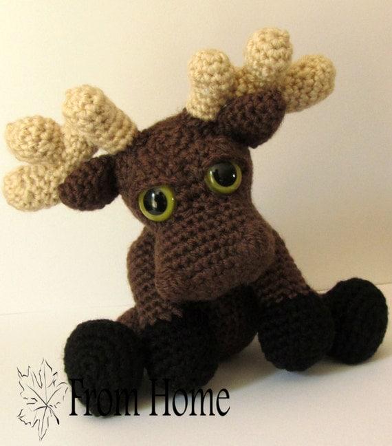 Free Amigurumi Moose Pattern : Crochet Moose Amigurumi Handmade Stuffie Made to Order