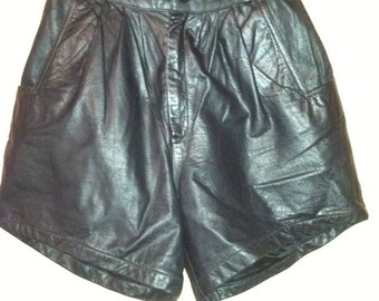Up cycled high waist leather shorts by rinzi size 4 hot