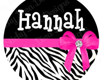 PERSONALIZED STICKERS - Custom Girly Bling Zebra Monogrammed Labels - Round Gloss Labels