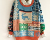 Handmade Christmas sweater  Moose Love pullover sweatshirt mercerized soft cotton sweater / coat jacket  M / L