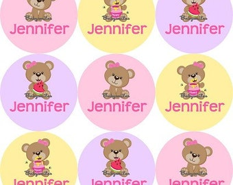 Personalized Waterproof Labels Waterproof Stickers Name Label Dishwasher Safe Daycare Label School Label Baby Label - Cutie Bear