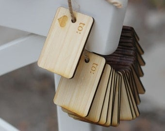 MINI BAMBOO WOOD Gift Tags or Labels