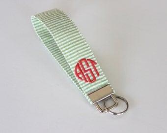 Monogrammed Seersucker Wristlet Key Fob - Bridesmaid Gift - Preppy - Graduation Gift - Sorority Gift - Stocking Stuffer