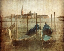 Venice in gold Grand Canal tour gondola water Italy romance lagoon travel blue teal turquoise green gold aged photographic print color