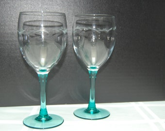 Vintage Crystal Goblets, Wine Goblet, Water Goblet, Tiara Silhouettes, Etched Crystal with  Spruce  Green Base