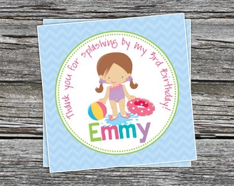 DIY - Girl Pool Party Birthday Favor Tags- Coordinating Items Available
