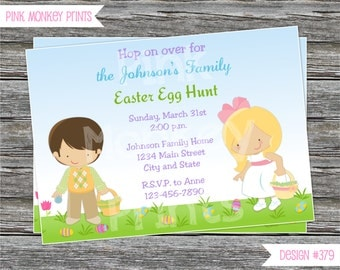 DIY - Girl or Boy Easter Egg Hunt Party Invitation #379 - Coordinating Items Available