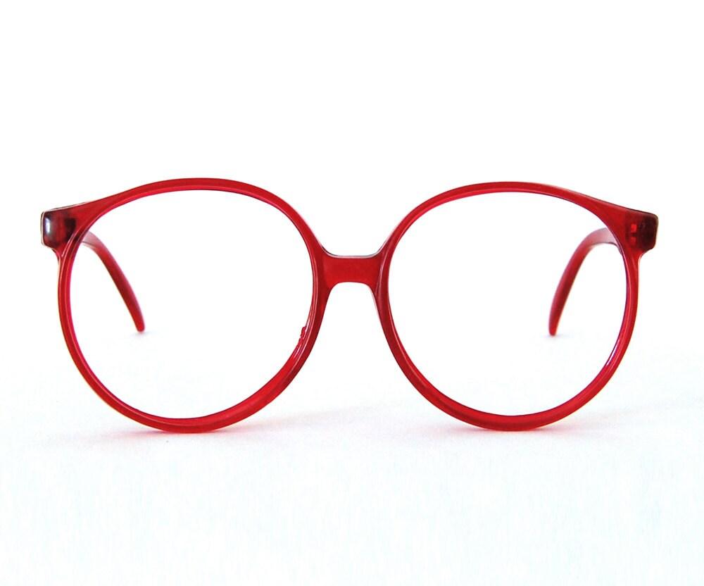 Eyeglasses Frames Red : oversized round eyeglasses / translucent red frames