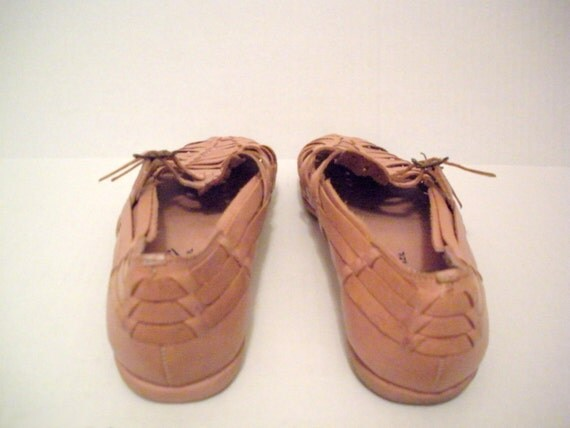 Vintage Nude Leather Huaraches LA GEAR made in Brazil 6.5