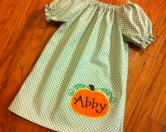 Fall Toddler Peasant Dress with Pumpkin Applique