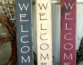 "Welcome sign 14"" vertical primitive wooden sign"