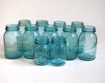 Vintage Aqua Canning Jars Quart and Pint - lot of eleven