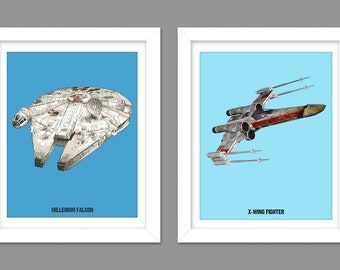 Digital Download Set of 2 - Star Wars Empire Strikes Back Return of the Jedi Poster - Boys Room - 8x10 11x14 12x18
