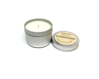 peppermint scented soy candle,  peppermint candle