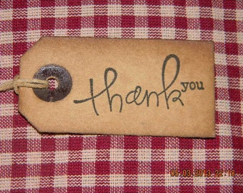 100 small primitive Thank You coffee stained  hang tags