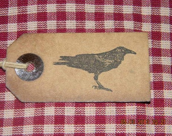 100 small primitive Crow coffee stained  hang tags