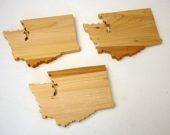 Solid Wood Washington Coasters (set of 4)