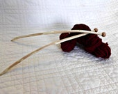 Natural Elm Knitting Sticks by Joan, approx. US size 10 1/2