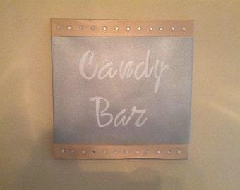 Silver and Peach Canvas Word Art