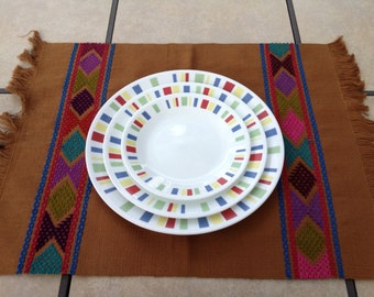 Handwoven and Embroidered Placemat - Dark Brown