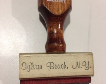 Sylvan beach New York, sylvan beach rubber stamp, vintage wooden rubber stamp