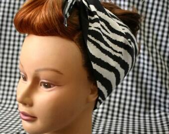 Vintage Inspired Head Scarf/ Bandanna Zebra Print