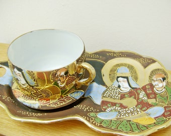 Vintage Japanese Plate Cup Holder Takito Style Hand painted on Egg Shell Porcelain