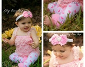 Baby Girl Clothes-SET-Valentines Day Pink Romper & Heart Flower headband-Valentines Day Outfit-newborn girl clothes-Valentines Dress-preemie