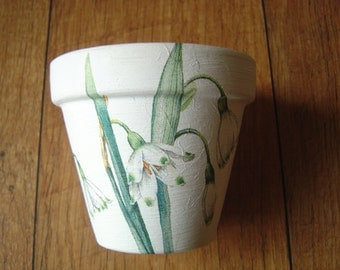Hand Painted and Decoupaged Decorative Flower Pots ( Snow Drops)