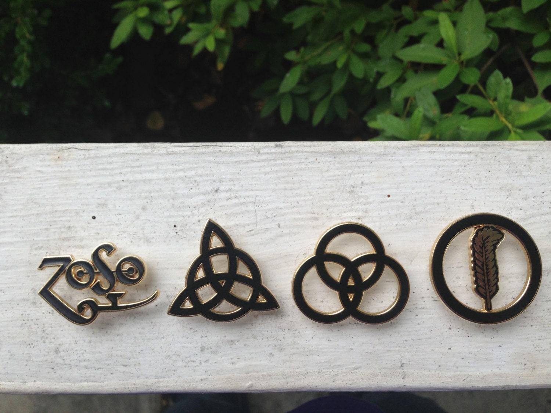 Led Zeppelin Symbol Pin Set Zoso Triquetra By Dirtyhashmafia