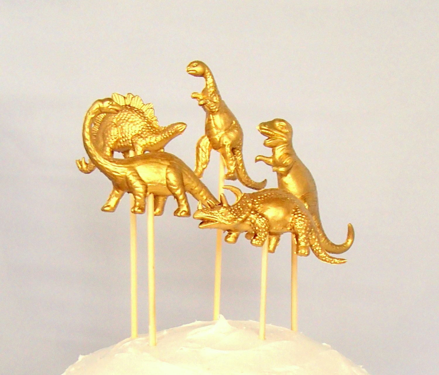 gold dinosaur wedding cake topper cake topper gold dinosaur set of five wedding cake topper 14751