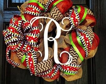 Burlap Christmas Wreath // Red // Lime Green // Black // Chevrons // Monogram wreath