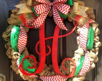 CHRISTMAS // LARGE burlap wreath // large monogram letter // Red and white chevron // Green // Gold