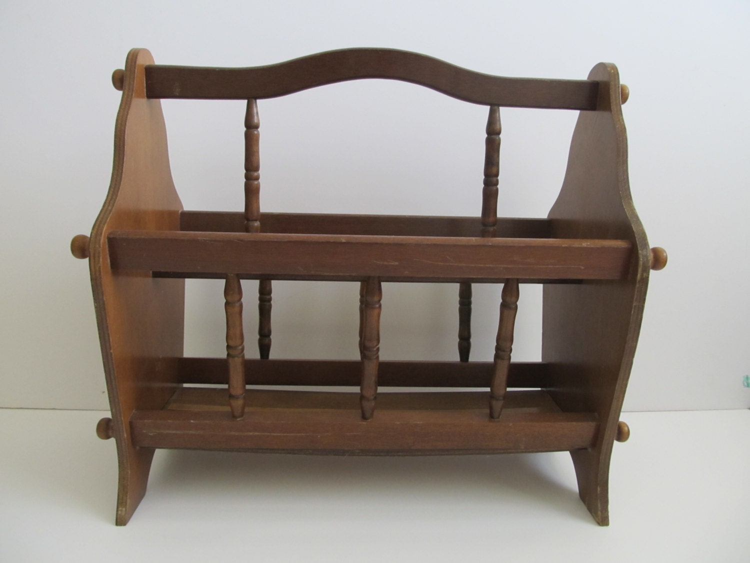 Wood Magazine Rack ~ Magazine rack wood mid century wooden